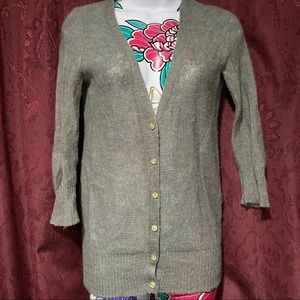 J Crew Gray Knit Button Up Sweater